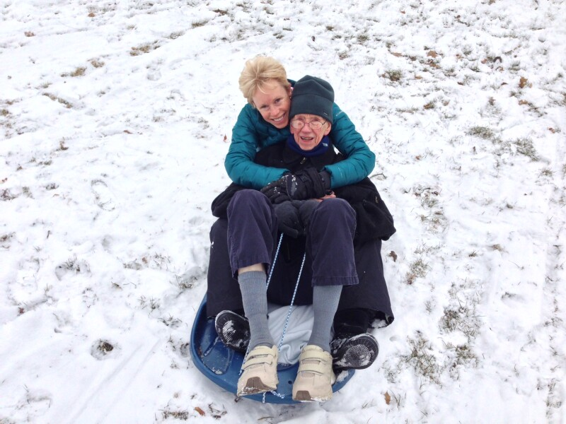Mary and Dad Sledding for AARP article