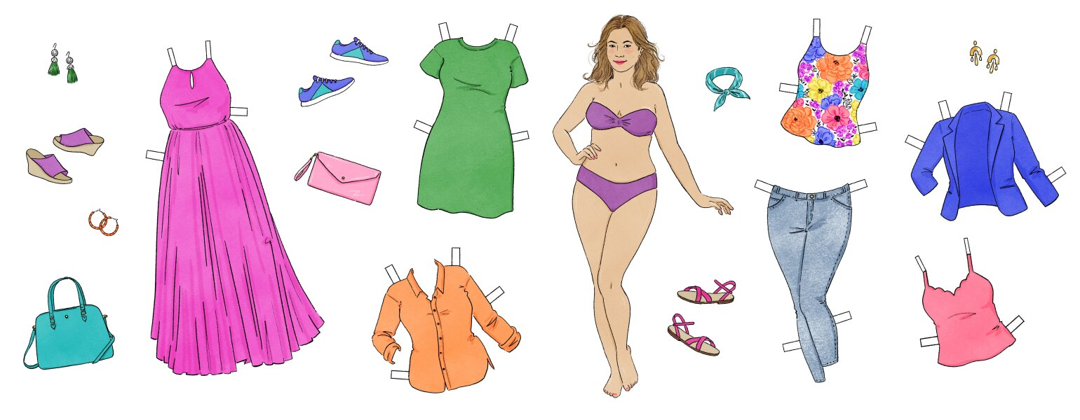 A graphic of a woman surrounded by various pieces of clothing.