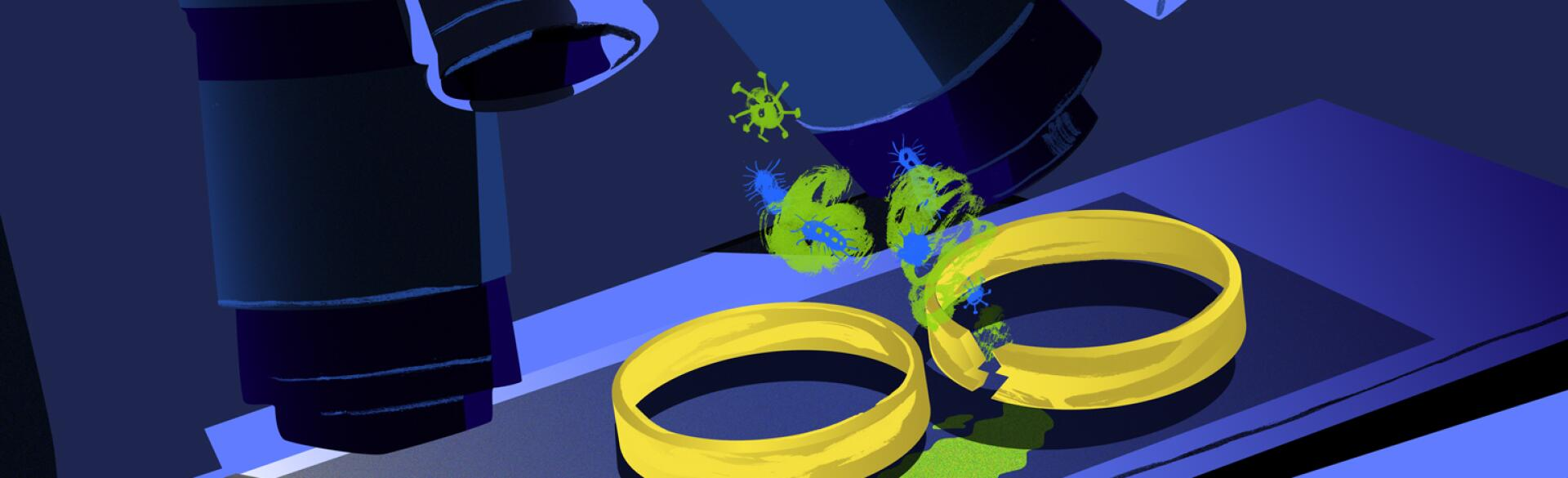 illustration of microscope analyzing wedding rings and hpv virus