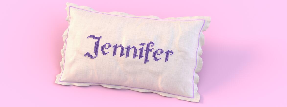 Pillow with the common name  jennifer stitched on