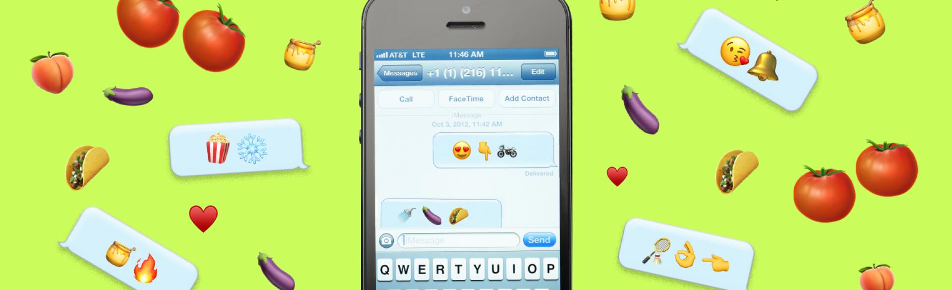 A graphic of a sexting conversation using various emojis on a cellphone. The cellphone is surrounded by various other emojis.