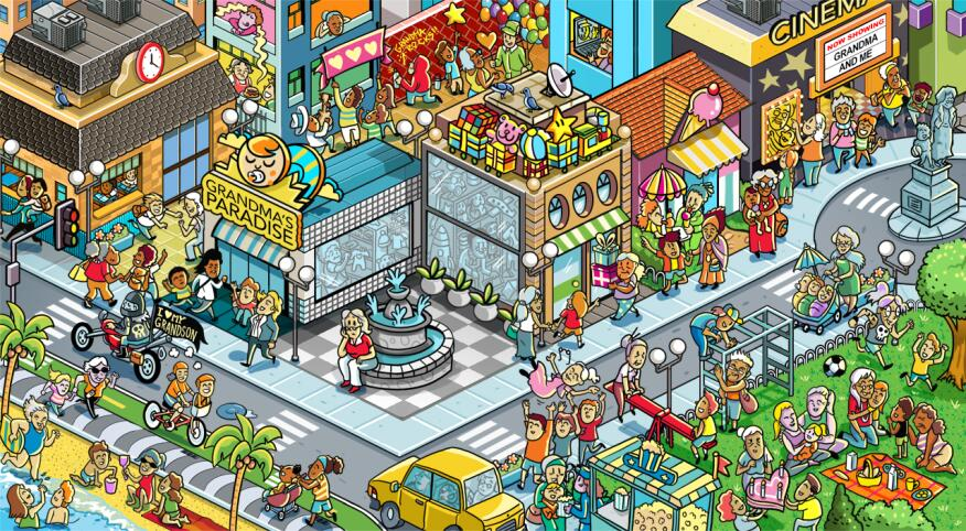 Illustrated aerial view of busy city full of grandmothers and grandkids, one without kids