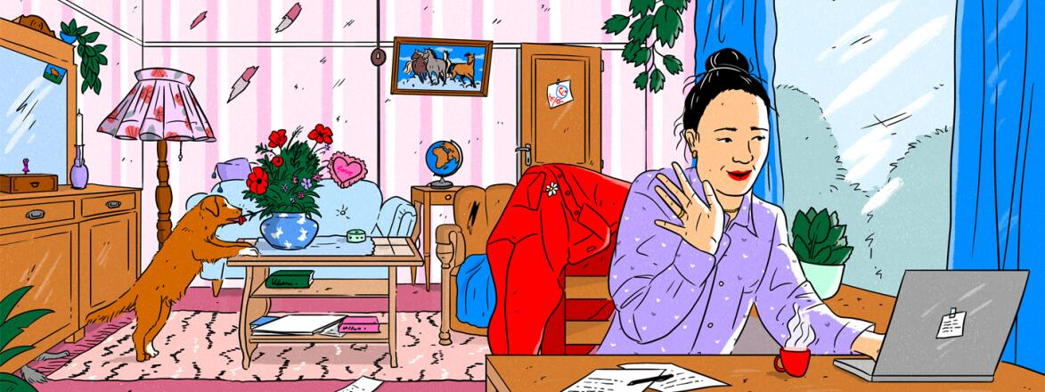 illustration_of_woman_on_her_computer_in_living_room_by_laura_breiling