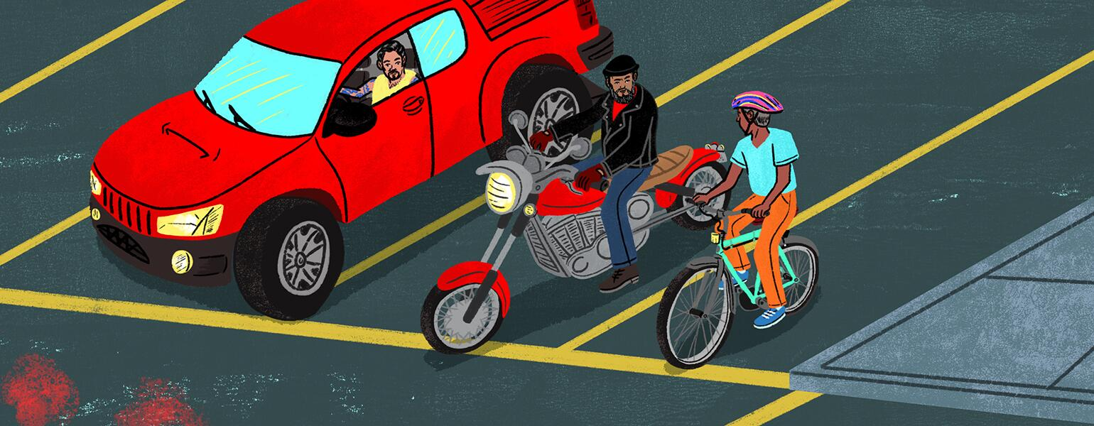 illustration of men in car and on a motorcycle and on a bike stopped at a red light