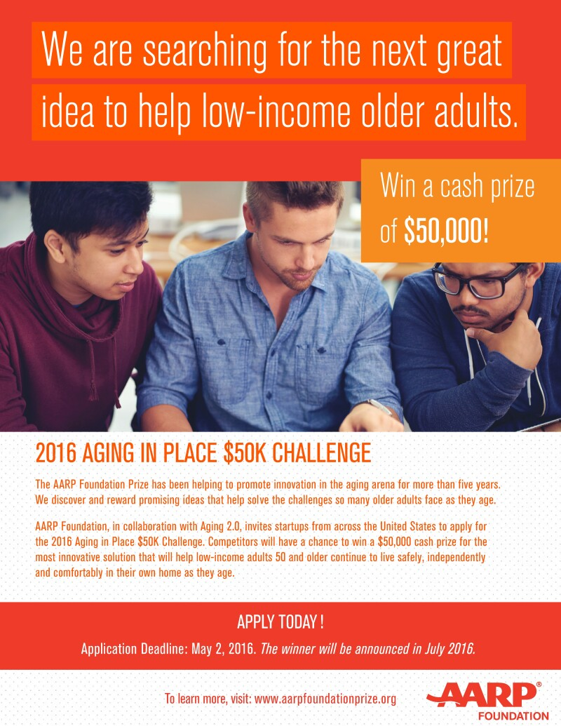 Flyer about the AARP Foundation 2016 $50K Challenge