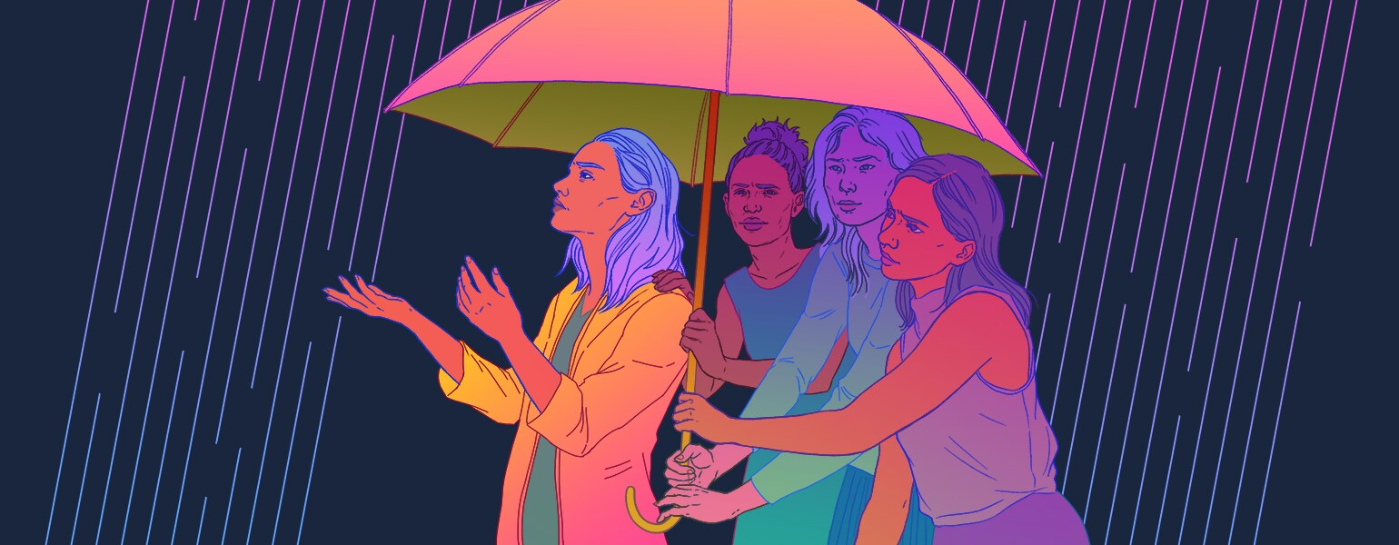 illustration of friends sheltering friend with umbrella from the storm
