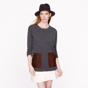 J Crew Merino Leather-Pocket Sweater