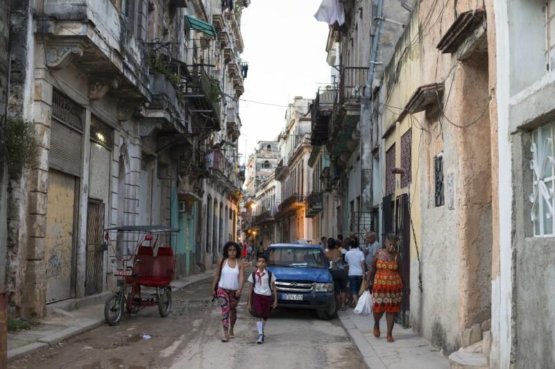Old run down street in Habana Vieja in Havana, Cuba
