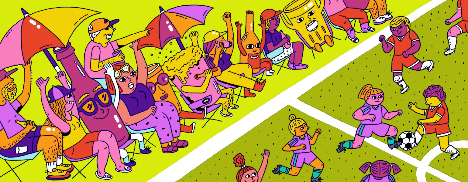illustration of alcohol drinks present at a childrens soccer game