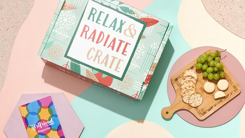 Winter 2020 Relax and Radiate Crate and magazine with cutting board