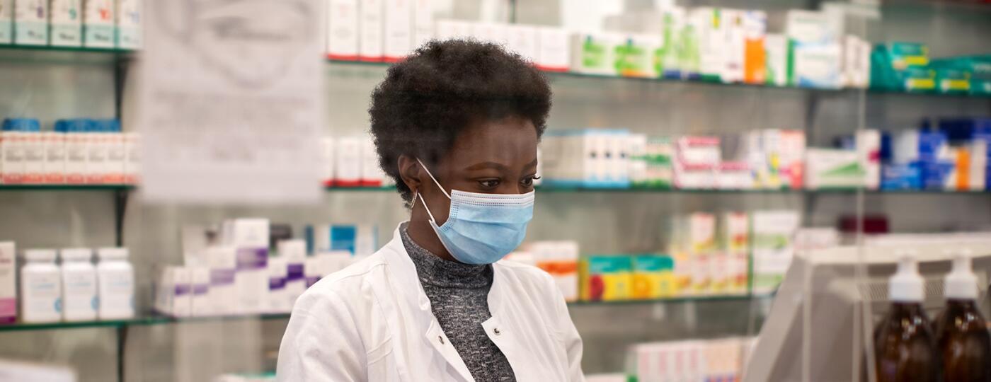 woman, mask, essential worker, pharmacist