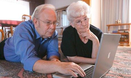 Older people at computer