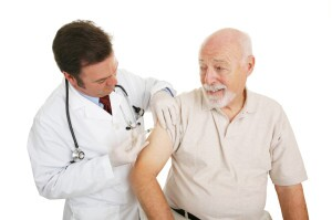 Man getting vaccine shot