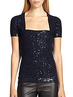 Donna Karan Sequined Shrug Top