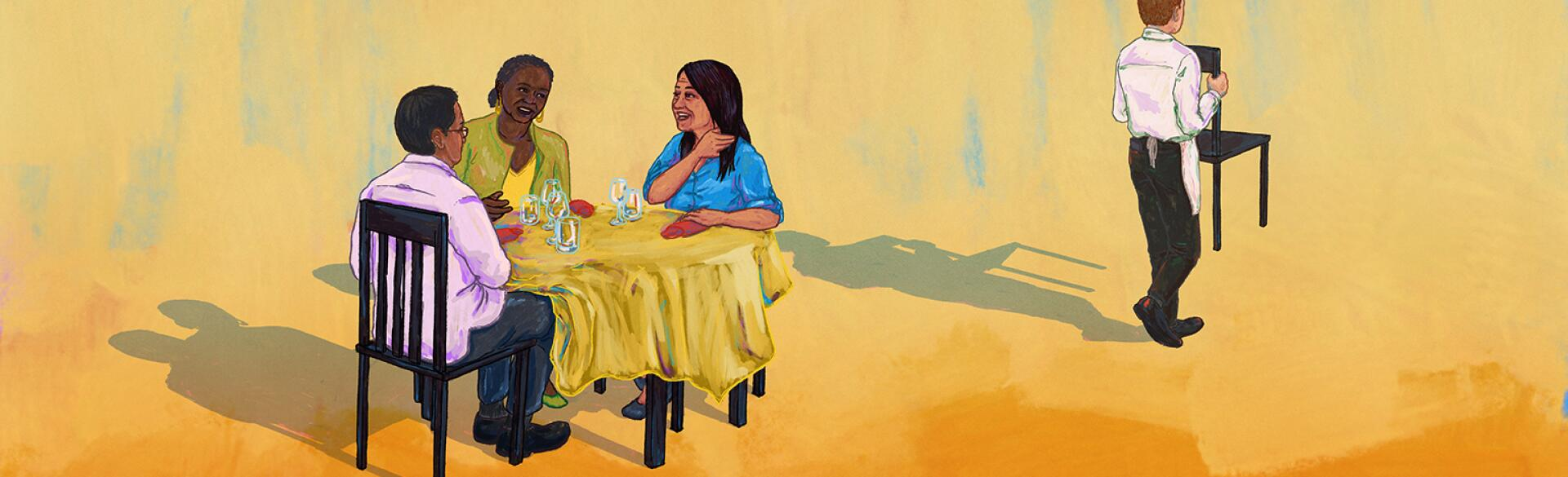 illustration of women sitting at a dinner table and waiter walking away with an empty chair