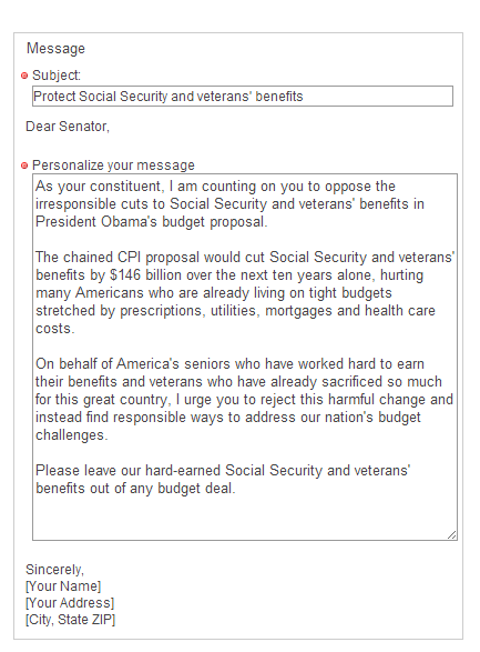 Contact Form to Senators, Oppose President Obama's Social Security and veterans cuts