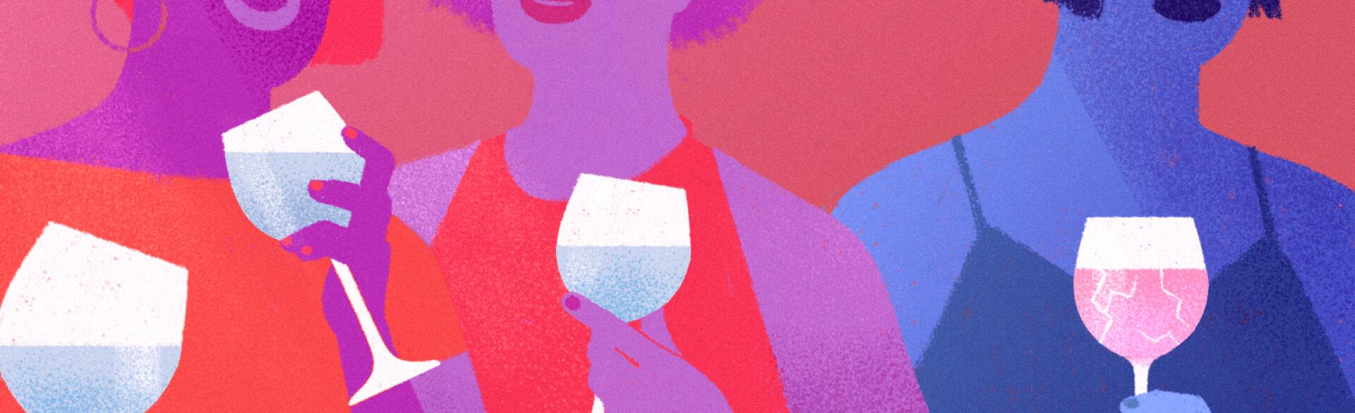 illustration of women with wine glasses in their hands