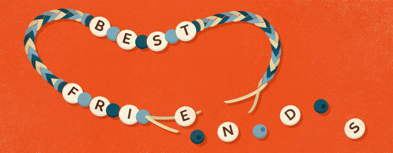 An illustration of a broken friendship bracelet.