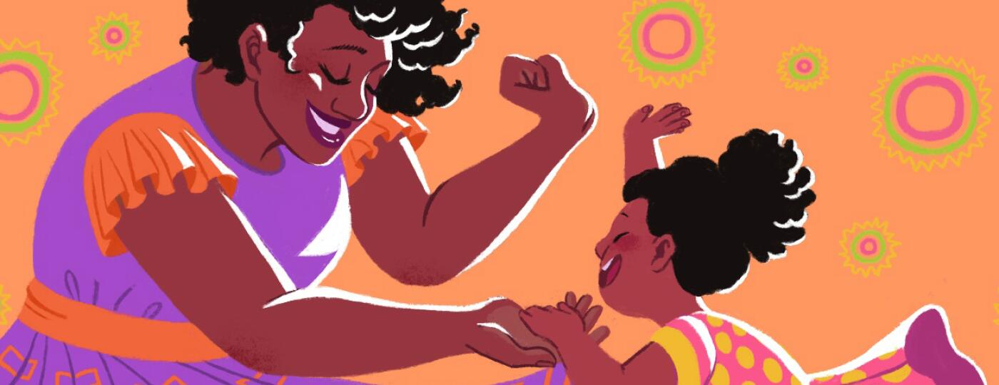 illustration of mother and daughter dancing