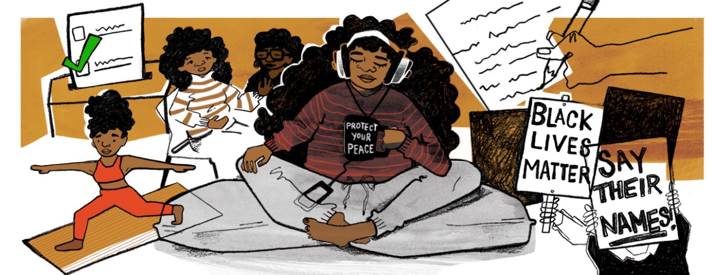 Black women, illustration, collage, racism, voting, exercising, peace