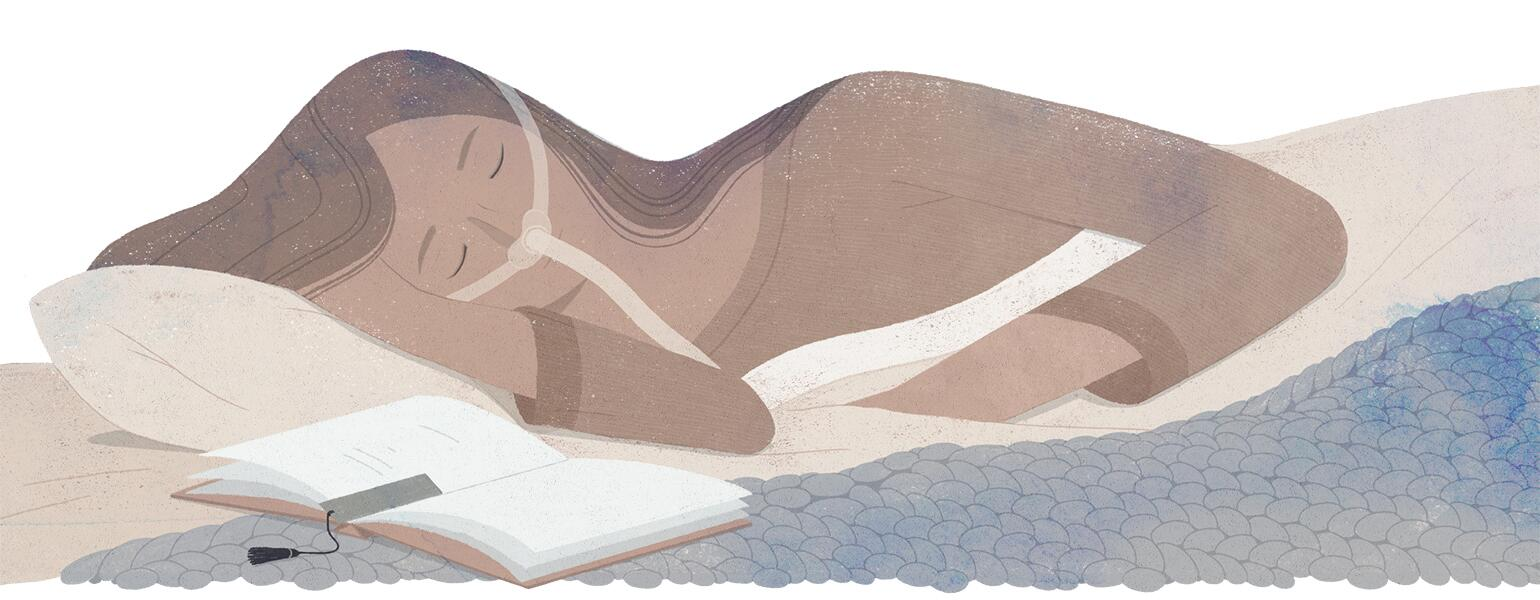 illustration of woman laying in bed with cpap machine on her nose