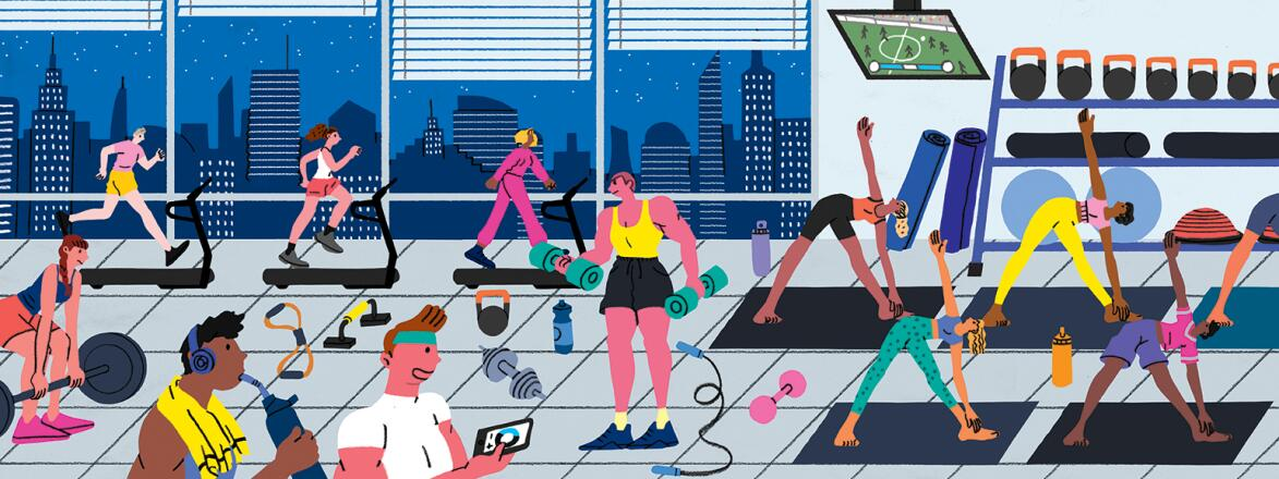 Illustration of people in a gym working on their fitness and healthy lifestyle.
