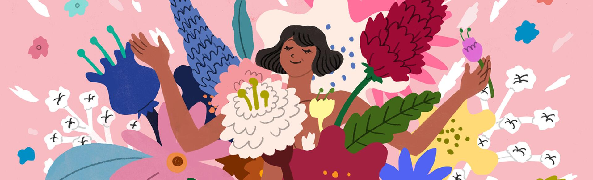 illustration of generation x woman smiling with flowers around her