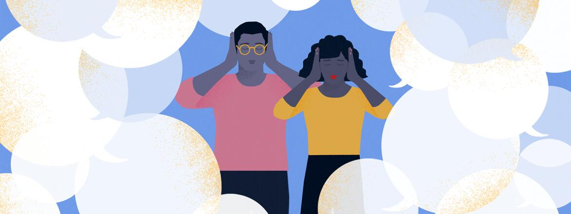illustration of couple covering their ears to block out comments from people