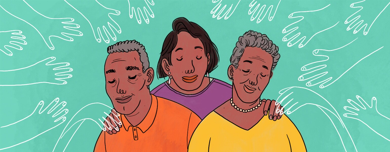 aarp, sisters, illustration, parents