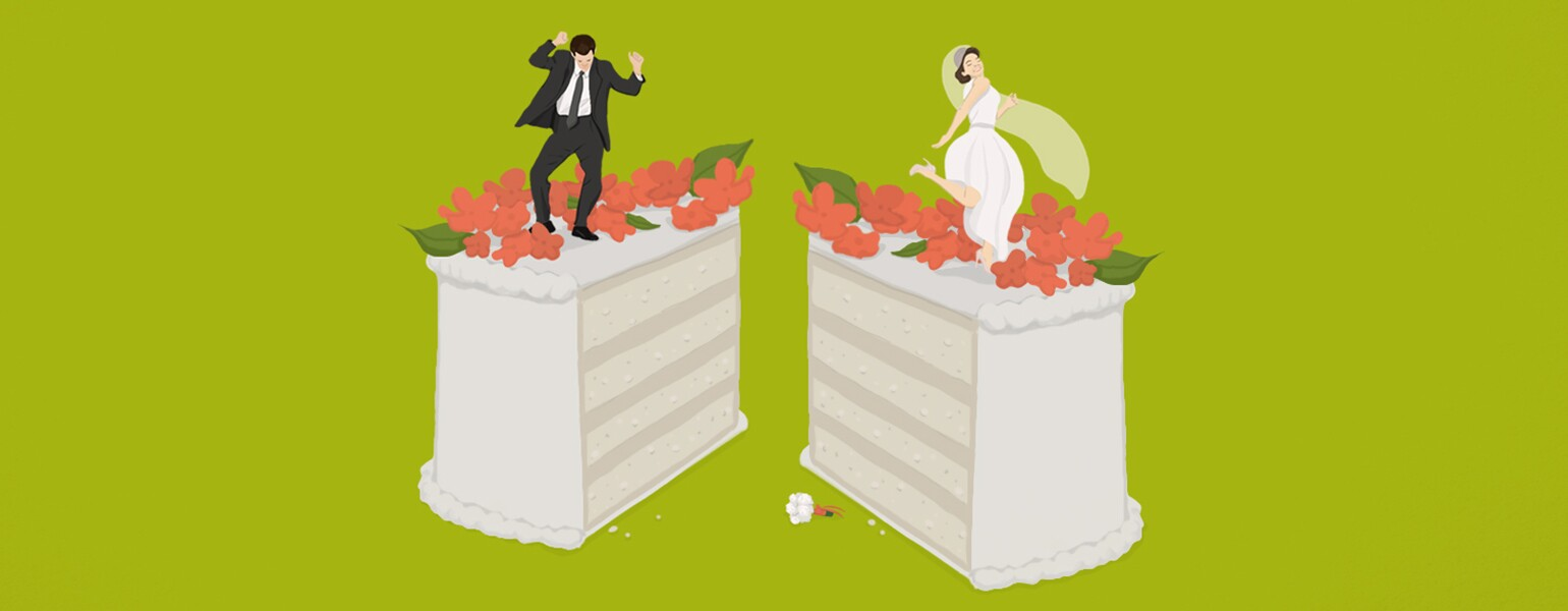 aarp, girlfriend, divorce, ceremony, illustration