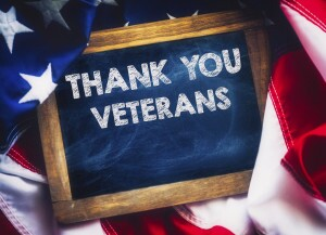 'Thank You Veterans' on chalkboard