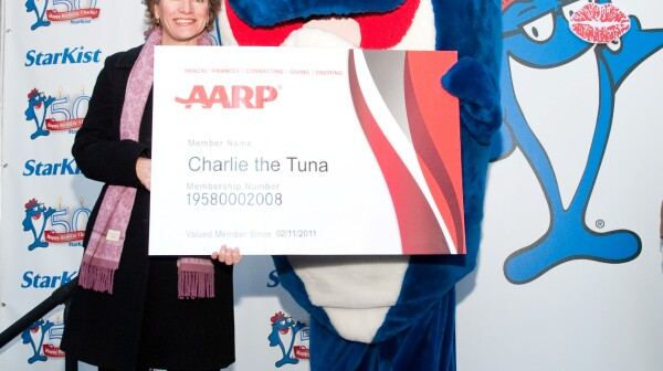 Charlie the Tuna receives his AARP card
