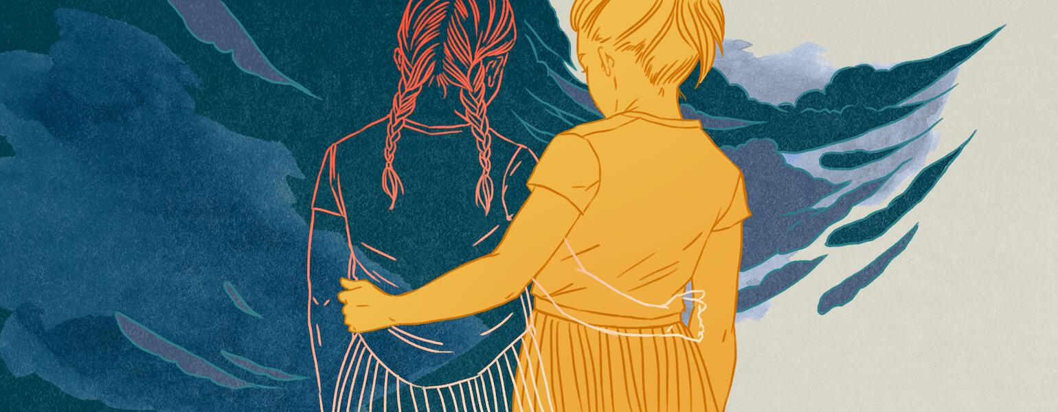 illustration of two younger sisters holding each other and drifting apart