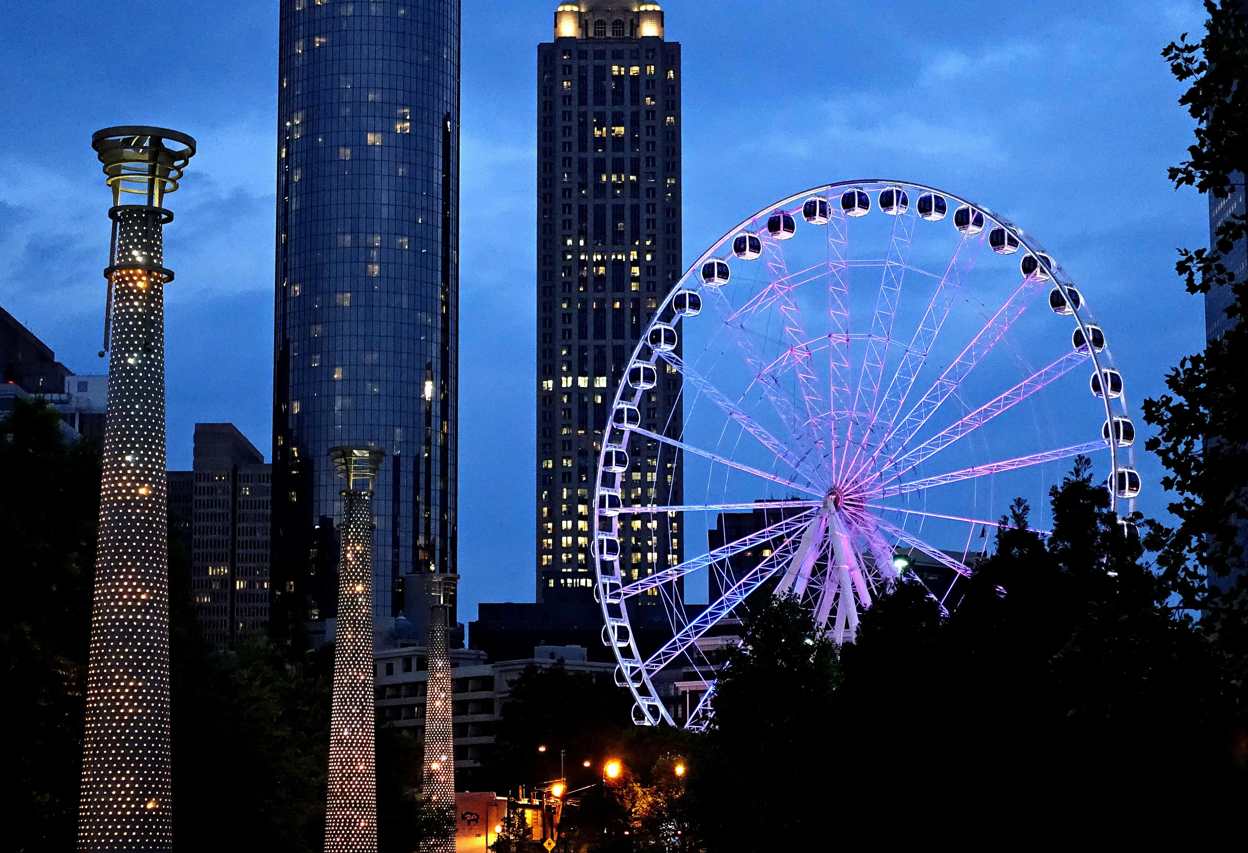 Atlanta Ferris Wheel lit up at night