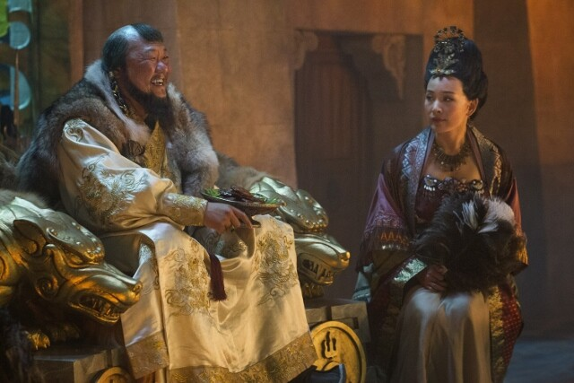 "Benedict Wong (L) and Joan Chen (R) in a scene from Netflix's ""Marco Polo."" Photo Credit: Phil Bray for Netflix."