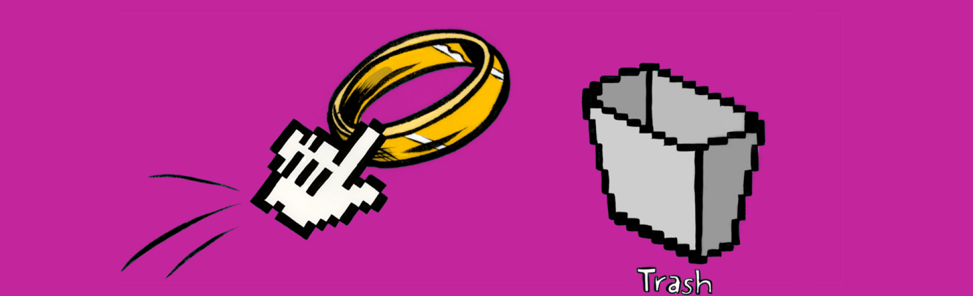 A graphic of a computer pointer moving a wedding ring to the trash icon.
