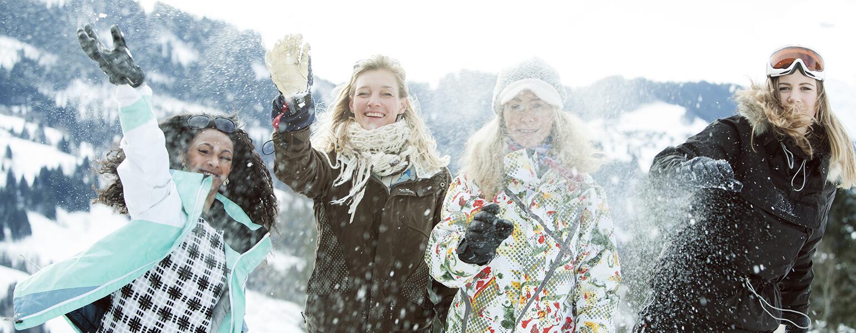 aarp, the girlfriend, skiing, snowboarding, winter sports, snowball fight, best friends