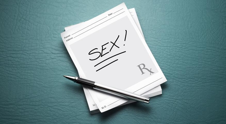Prescription pad with the word sex written on it