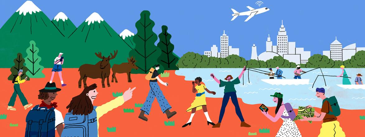 illustration of travel adventures such as camping fishing and exploring a big city