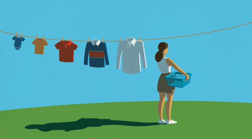 illustration of woman hanging her children's shirts on clothesline outside