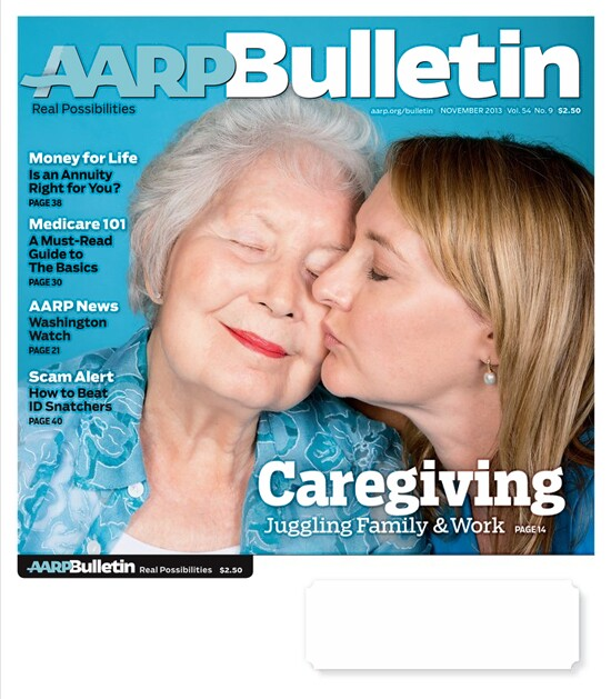 Amy Goyer describes the mixture of pain and joy in seeing her mother, who recently passed on, on the cover of the AARP Bulletin with her.