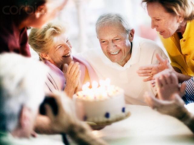 Celebrating Senior Man's Birthday