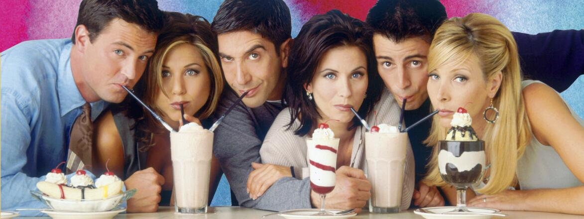 A promotional shot of the Friends actors from early on in the show's run