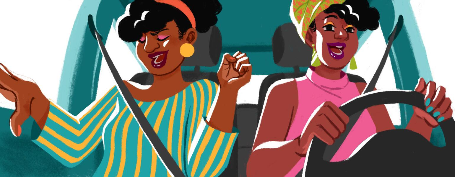 illustration of two black ladies singing in the car spotify playlist
