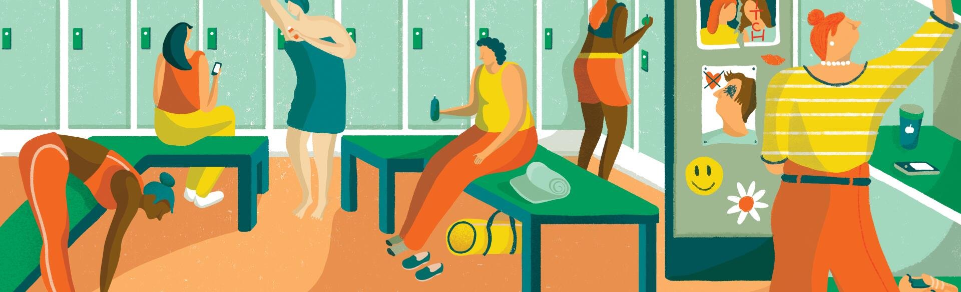 Illustration of women in a high school locker room