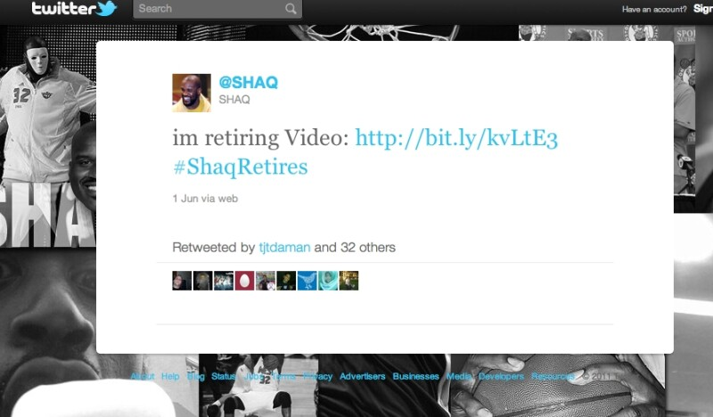 Shaq Retirement Tweet
