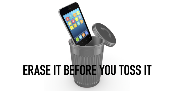smart phone in trash can