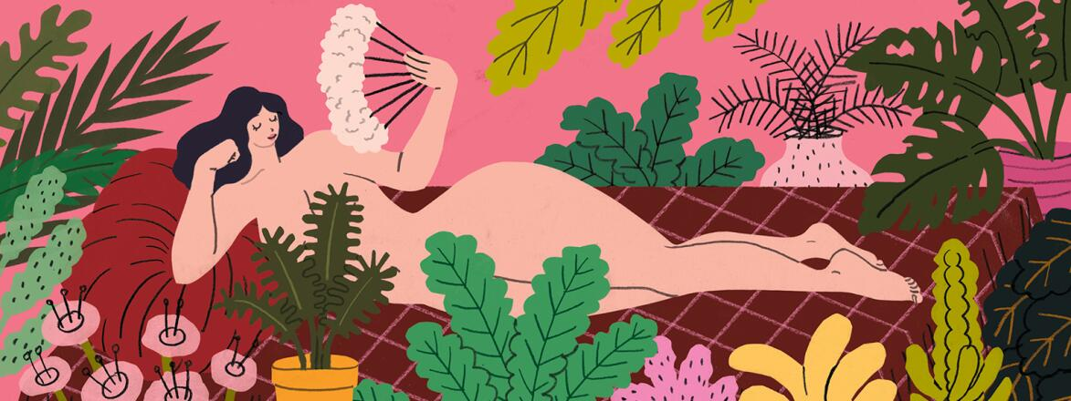 Illustration of woman feeling sexy surrounded by plants fanning herself