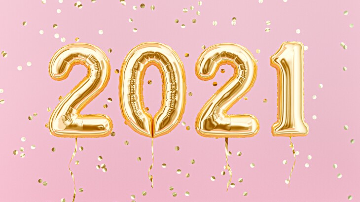 New year 2021 celebration. Gold foil balloons numeral 2021 and confetti on pink background. 3D rendering
