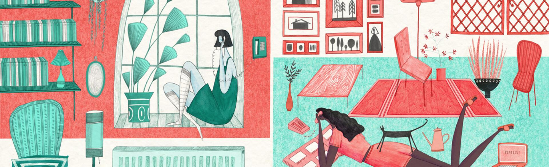illustration of friends on the phone in two separate living rooms